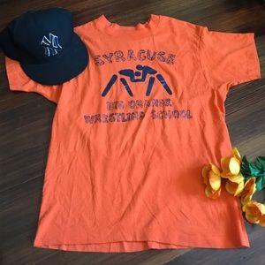 ▪️vintage : thin orange syracuse wrestling tee▪️